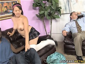 Callie Dee Has assets shaking ejaculation From massive ebony beef whistle