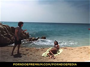 PORNDOE PEDIA gorgeous dark-hued stunner beach intercourse tutorial