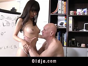 lovely japanese student Gets aged tutor plow cum swallowing