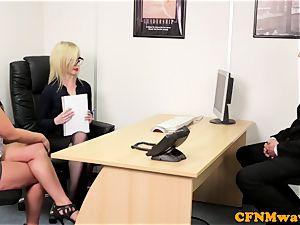european CFNM femdom throating manmeat in office