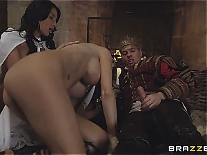 Alluring Anissa Kate and Jasmine Jae serve the king's will and boner